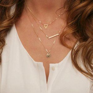 Multilayer Necklaces Triangle Fashion Jewelry